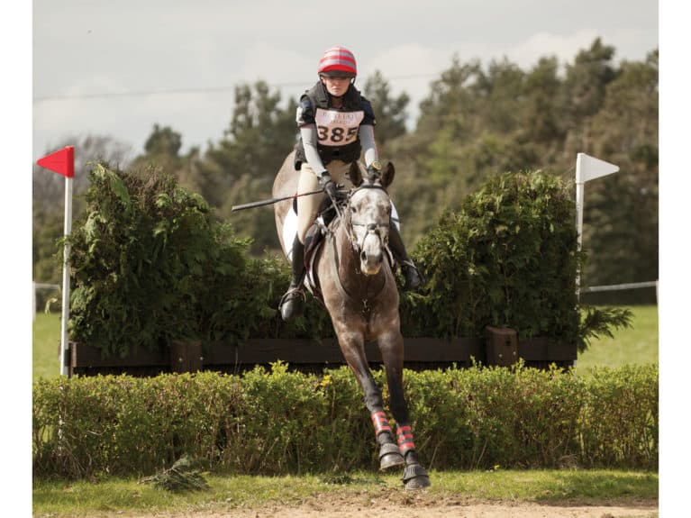 Rider competing in a body protector