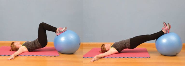 Stability ball knee-ins, exercise for riders