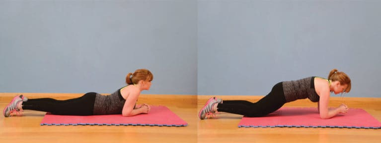 Plank on knees, exercise for horse riders