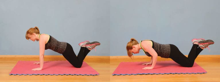 Press-ups on your knees exercise for horse riders