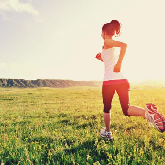 Horse rider running to keep fit