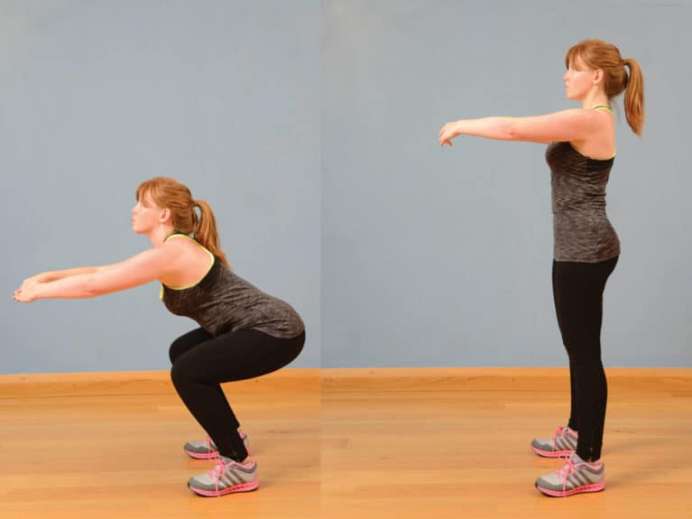 Bodyweight squat exercise for riders