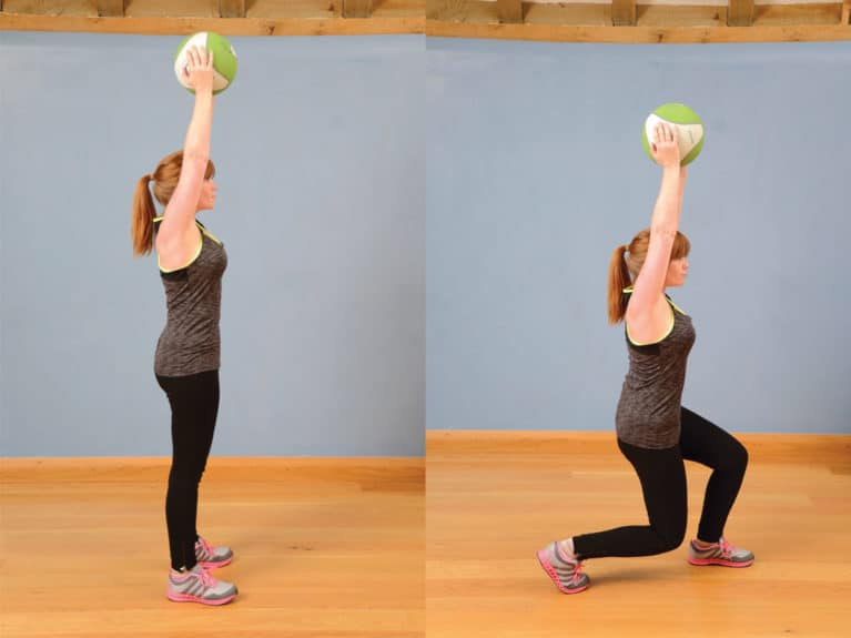 Static lunges with ball or weight, exercise for riders