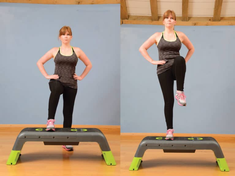 Step-up to balance, exercise for riders