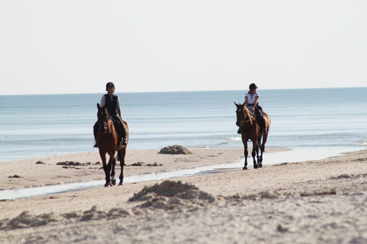 Riding on the beaches in South West England