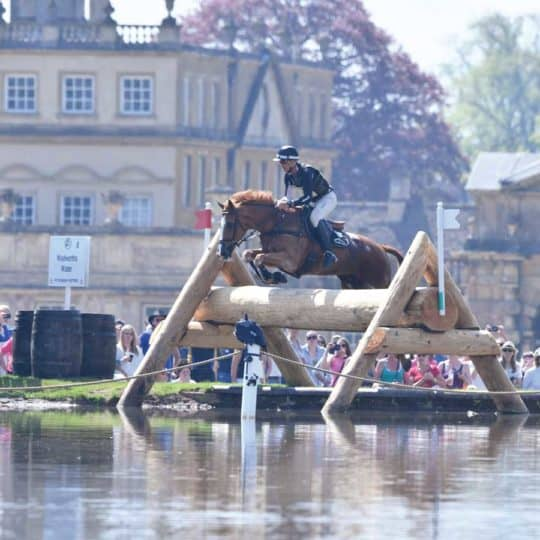 Badminton Horse Trials, Andrew Nicholson jumping a cross-country fence