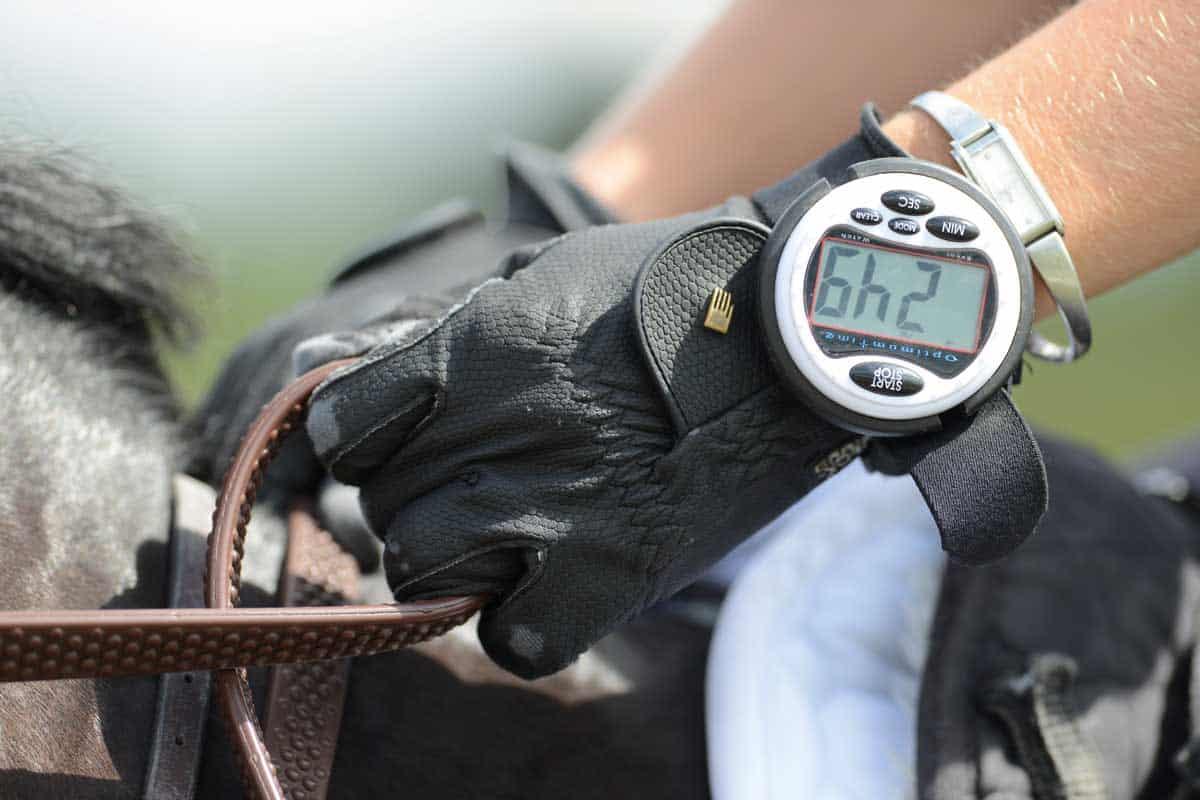 rider wearing a stopclock