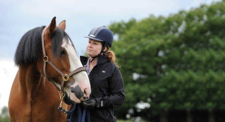 Rider looking at horse