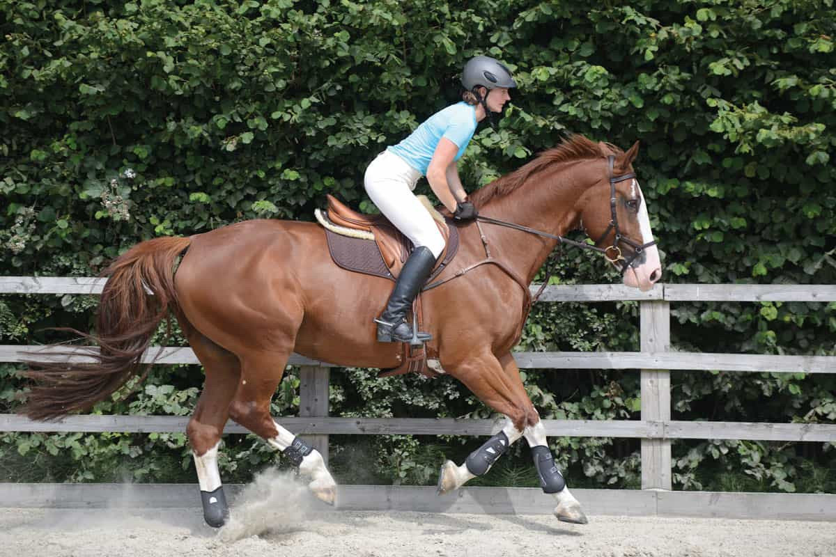 Rider in a light seat to improve jumping position