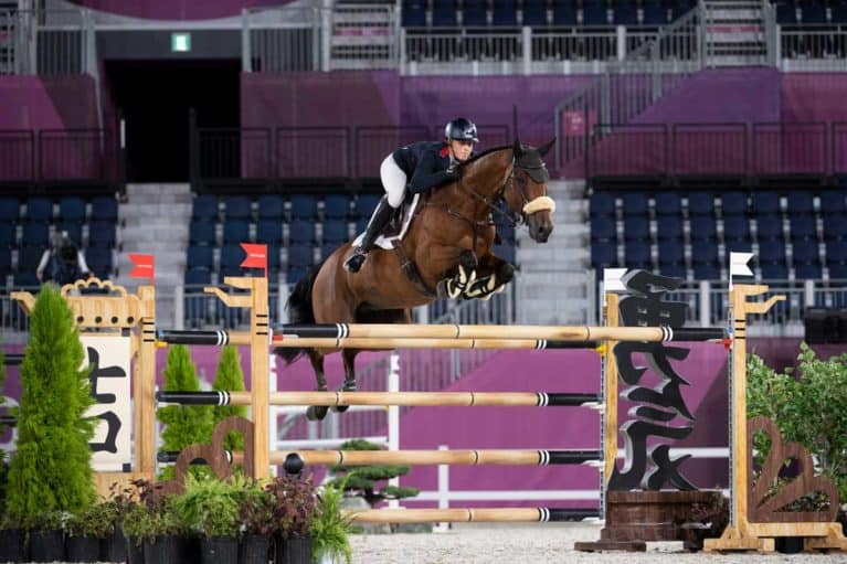 Holly Smith and Denver in the showjumping team qualifier © BEF / Jon Stroud Media